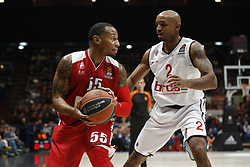 November 17, 2017 - Milan, Milan, Italy - Curtis Jerrells (#55 AX Armani Exchange Milan) looks for a pass during a game of Turkish Airlines EuroLeague basketball between  AX Armani Exchange Milan vs Brose Bamberg at Mediolanum Forum, on November 17, 2017 in Milan, Italy. (Credit Image: © Roberto Finizio/NurPhoto via ZUMA Press)