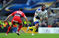 Davit Zirakashvili of Clermont Auvergne goes on the attack - Photo mandatory by-line: Patrick Khachfe/JMP - Mobile: 07966 386802 02/05/2015 - SPORT - RUGBY UNION - London - Twickenham Stadium - ASM Clermont Auvergne v RC Toulon - European Rugby Champions Cup Final