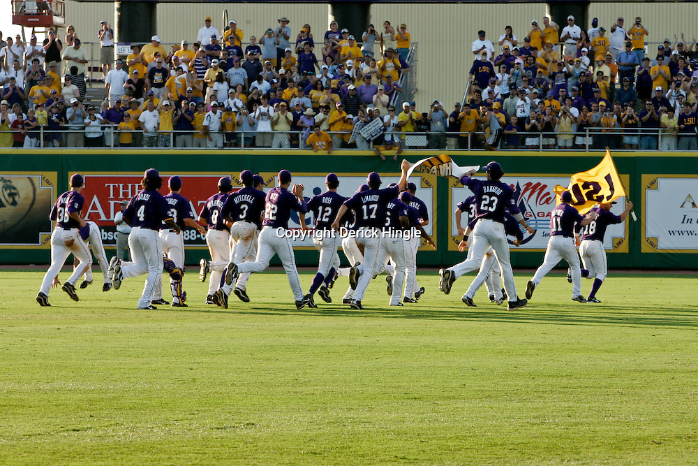 06 June 2009:  LSU Tigers players celebrate following a 5-3 victory over the Rice Owls in game two of the NCAA baseball College World Series, Super Regional played at Alex Box Stadium in Baton Rouge, Louisiana. The Tigers with the win advance to next week's College Baseball World Series in Omaha, Nebraska.