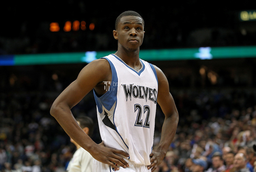 Nov 1, 2014; Minneapolis, MN, USA; Minnesota Timberwolves guard Andrew Wiggins (22) against the Chicago Bulls at Target Center. The Bulls defeated the Timberwolves 106-105. Mandatory Credit: Brace Hemmelgarn-USA TODAY Sports