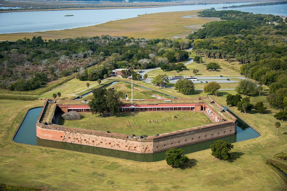 Aerial view of Fort Pulaski National Monument, a civil war landmark in Savannah, Georgia, USA