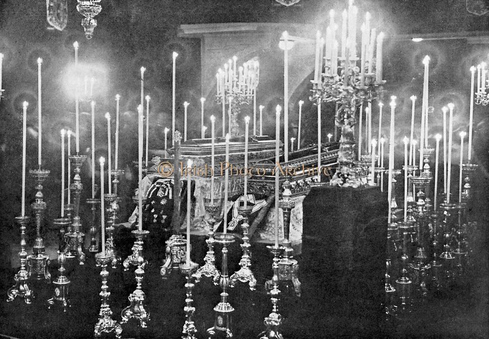 Assassination of Archduke Francis Ferdinand (Franz Ferdinand) 1863-1914, heir to the Austrian throne, at Sarajevo 28 June 1914. The coffins of Franz Ferdinand and Archduchess Sophie lying in state.