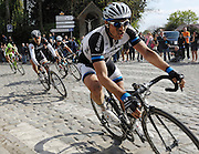 France April 13th 2014: John Degenkolb, Team Giant Shimano, leads Fabian Cancellara (second from left), Zdenek Stybar, Omega Pharma Quickstep, and Peter Sagan (furthest left rider) pass through Gruson on the way to the finish in Roubaix Velodrome. Copyright 2014 Peter Horrell
