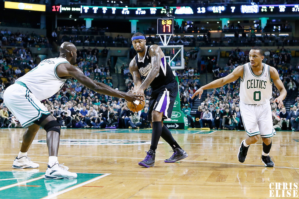 30 January 2013: Boston Celtics power forward Kevin Garnett (5) defends on Sacramento Kings center DeMarcus Cousins (15) during the Boston Celtics 99-81 victory over the Sacramento Kings at the TD Garden, Boston, Massachusetts, USA.