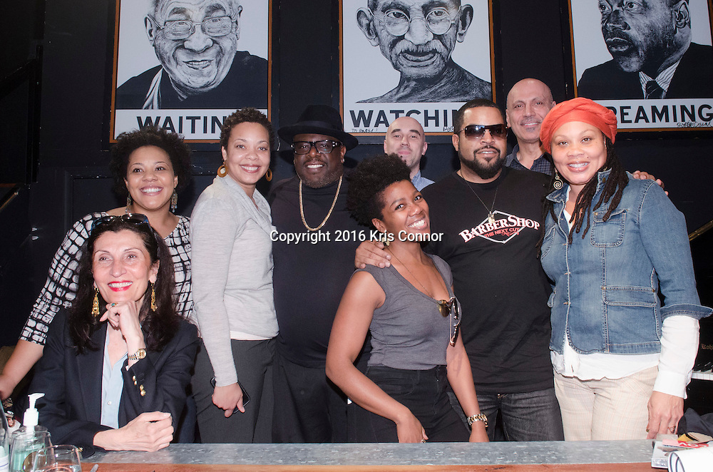 """WASHINGTON, DC - MARCH 16: Ice Cube and Cedric the Entertainer attend the Warner Bros. Pictures' """"BARBERSHOP: THE NEXT CUT"""" event the met with fans and free haircuts where given away from the mobile barbershop truck at Busboy and Poets on March 16, 2016 in Washington, DC. (Kris Connor/Warner Bros. Pictures)"""