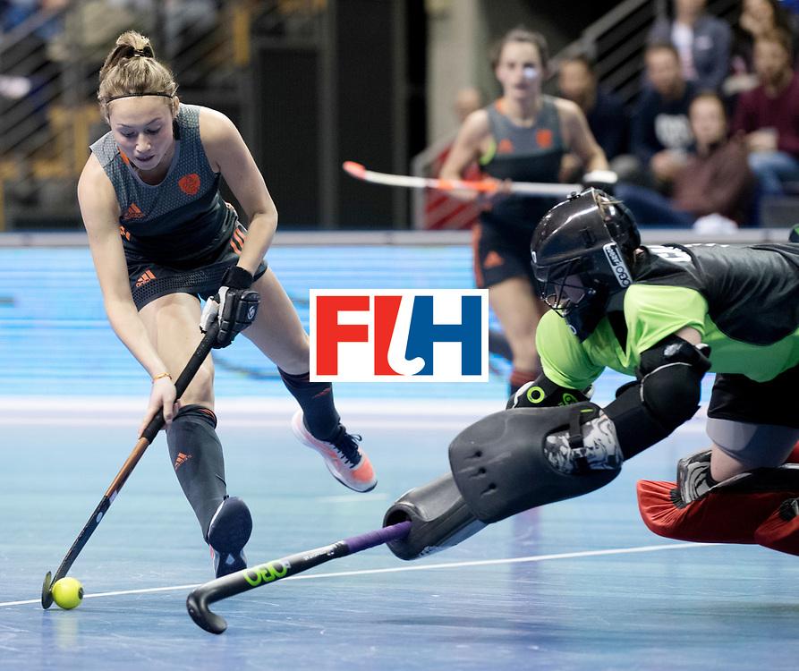 BERLIN - Indoor Hockey World Cup<br /> Women: Netherlands - United States<br /> foto: Marijn Veen scored.<br /> WORLDSPORTPICS COPYRIGHT FRANK UIJLENBROEK