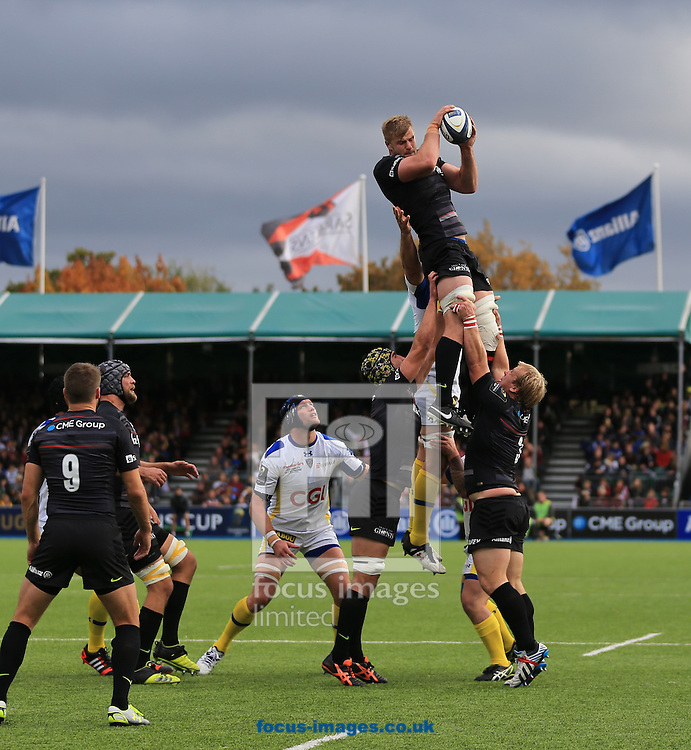 George Kruis of Saracens wins the line out during the European Rugby Champions Cup match at Allianz Park, London<br /> Picture by Michael Whitefoot/Focus Images Ltd 07969 898192<br /> 18/10/2014
