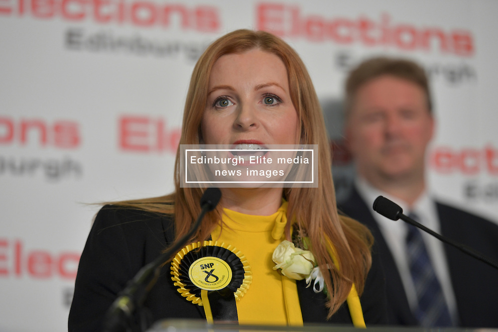 SCOTTISH PARLIAMENTARY ELECTION 2016 – Ash Denham, Scottish National Party (SNP) winning the Eastern parliamentary election at the Royal Highland Centre, Edinburgh for the counting of votes and declaration of results.<br />(c) Brian Anderson | Edinburgh Elite media