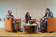 """Vienna, Hauptbuecherei. Presentation of the book """"Aufmarsch: Die rechte Gefahr aus Osteuropa"""" by  Gregor Mayer (r.) and Bernhard Odehnal (l.).  Discussion leader Elisa Vass (m)."""