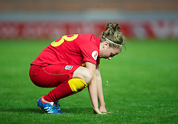 LLANELLI, WALES - Saturday, September 15, 2012: Wales' Hannah Keryakoplis looks dejected as her side lose 2-1 to Scotland during the UEFA Women's Euro 2013 Qualifying Group 4 match at Parc y Scarlets. (Pic by David Rawcliffe/Propaganda)