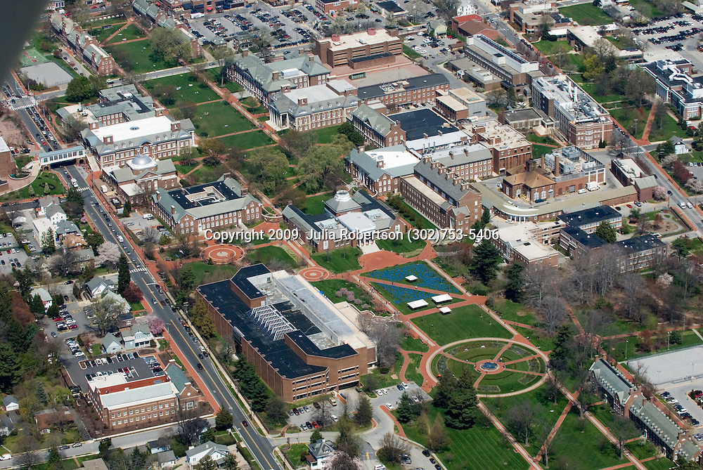 Aerial views of the University of Delaware  and Blue Hen Stadium and Bob Carpenter Center, Newark, Delaware