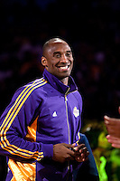 27 October 2009: Guard Kobe Bryant of the Los Angeles Lakers smiles during the Los Angeles Lakers ring ceremony before the Lakers 99-92 victory over the LosAngeles Clippers at the STAPLES Center in Los Angeles, CA.