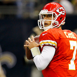 September 23, 2012; New Orleans, LA, USA; Kansas City Chiefs quarterback Matt Cassel (7) throws against the New Orleans Saints at the Mercedes-Benz Superdome. The Chiefs defeated the Saints 27-24 in overtime. Mandatory Credit: Derick E. Hingle-US PRESSWIRE