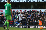 Tottenham Hotspur attacker Christian Eriksen scoring tottenham third during the Barclays Premier League match between Tottenham Hotspur and Sunderland at White Hart Lane, London, England on 16 January 2016. Photo by Matthew Redman.