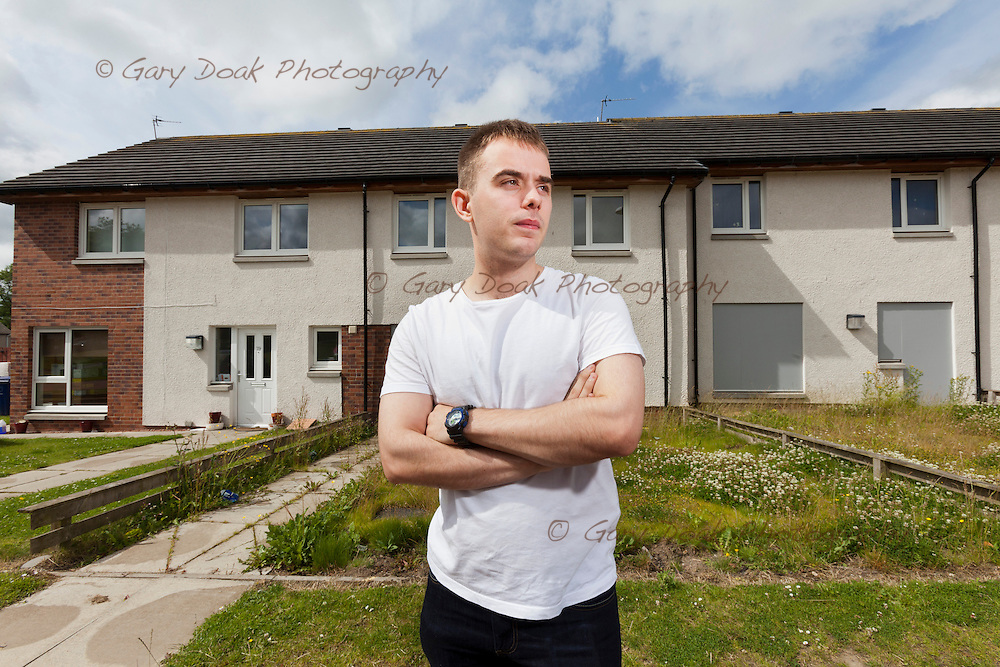 Newbyres Crescent, Gorebridge<br /> Estate being knocked down due to Carbon Monoxide contamination.<br /> <br /> Chris Sharp outside his affected home.<br /> (his home not boarded up, yet)