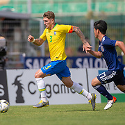 TOULON, FRANCE June 15.  Lyanco #3 of Brazil defended by Takahiro Koh #17 of Japan during the Brazil U22 V Japan U22 Final match at the Tournoi Maurice Revello at Stade D'Honneur on June 15th 2019 in Toulon, Provence, France. (Photo by Tim Clayton/Corbis via Getty Images)
