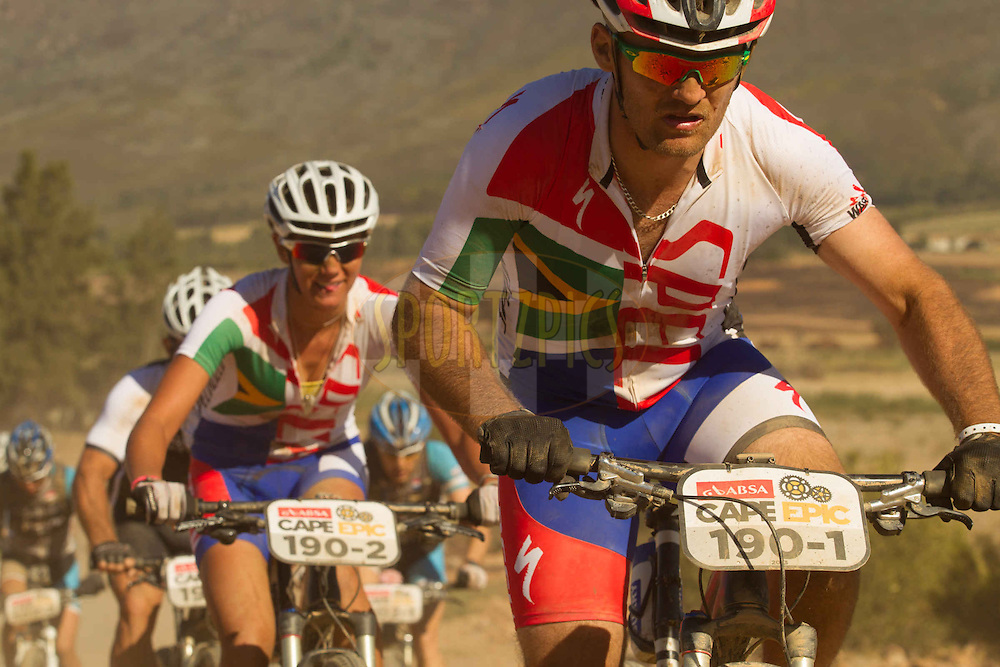 Duane Stander and Cherise Stander during stage 2 of the 2013 Absa Cape Epic Mountain Bike stage race from Citrusdal to Saronsberg Wine Estate in Tulbagh, South Africa on the 19 March 2013..Photo by Greg Beadle/Cape Epic/SPORTZPICS