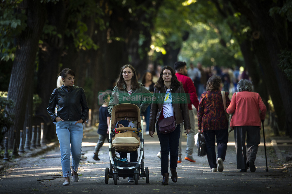 October 7, 2018 - Bucharest, Romania - A group of women is seen with a baby stroller in central Bucharest as a referendum is being held this weekend which could result in redefining marriage in the constitution from a union between couples to one between a man and a woman. (Credit Image: © Jaap Arriens/NurPhoto/ZUMA Press)