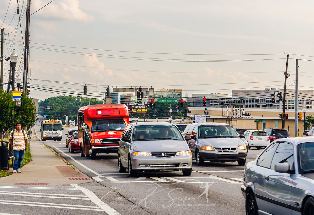Traffic passes through the interesction of Buford Highway and Chamblee-Dunwoody Road, June 7, 2014, in Doraville, Georgia. (Photo by Carmen K. Sisson/Cloudybright)