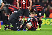David Brooks (20) of AFC Bournemouth down injured after scoring a goal to give a 2-0 lead to the home team during the Premier League match between Bournemouth and Chelsea at the Vitality Stadium, Bournemouth, England on 30 January 2019.