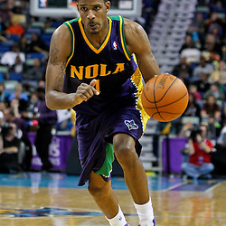 February 10, 2012; New Orleans, LA, USA; New Orleans Hornets small forward Trevor Ariza (1) against the Portland Trail Blazers during the a game at the New Orleans Arena. The Trail Blazers defeated the Hornets 94-86. Mandatory Credit: Derick E. Hingle-US PRESSWIRE
