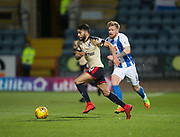 18th November 2017, Dens Park, Dundee, Scotland; Scottish Premier League football, Dundee versus Kilmarnock; Dundee's Faissal El Bakhtaoui races away from Kilmarnock's Alan Power