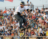Ryan Nyquist competes at the AST Dew Tour Right Guard Open BMX Dirt Finals Friday, July 18, 2008 in Cleveland, OH.