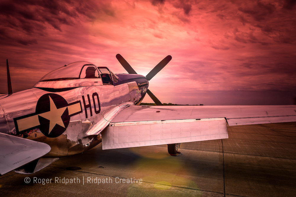 North American P-51 Mustang At Sunset