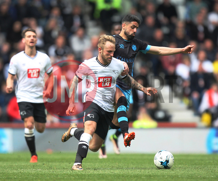 Johnny Russell of Derby County (L) and Marco Matias of Sheffield Wednesday in action - Mandatory by-line: Jack Phillips/JMP - 23/04/2016 - FOOTBALL - iPro Stadium - Derby, England - Derby County v Sheffield Wednesday - Sky Bet Championship