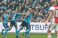 02-10-2016: Voetbal: Ajax v FC Utrecht: Amsterdam<br /> <br /> (L-R) FC Utrecht speler Kevin Conboy heeft de 1-0 gescoord tijdens het Eredivsie duel tussen Ajax en FC Utrecht op 2 oktober 2016 in stadion Arena in Amsterdam tijdens speelronde 8<br /> <br /> Eredivisie - Seizoen 2016 / 2017<br /> <br /> Foto: Gertjan Kooij