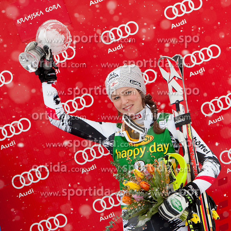 SCHILD Bernadette of Austria during flover ceremony of 50th Golden Fox Audi Alpine FIS Ski World Cup Ladies Slalom, on February 2, 2014 in Podkoren, Kranjska Gora, Slovenia. (Photo By Urban Urbanc / Sportida.com)