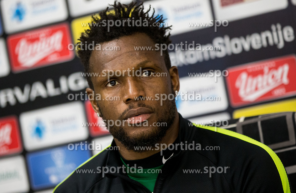 Julius Wobay of NK Olimpija during press conference, on April 4, 2017 in SRC Stozice, Ljubljana, Slovenia. Photo by Vid Ponikvar / Sportida
