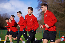 CARDIFF, WALES - Monday, November 12, 2018: Wales' Aaron Ramsey and Sam Vokes during a training session at the Vale Resort ahead of the UEFA Nations League Group Stage League B Group 4 match between Wales and Denmark. (Pic by David Rawcliffe/Propaganda)