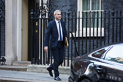 London, UK. 8th January, 2019. Stephen Barclay MP, Secretary of State for Exiting the European Union, leaves 10 Downing Street following the first Cabinet meeting since the Christmas recess.