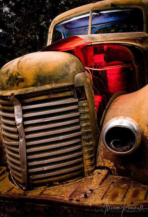 ghost in the orchard - a decaying and rusted vintage pickup truck is lit from within while resting deep in a walnut orchard