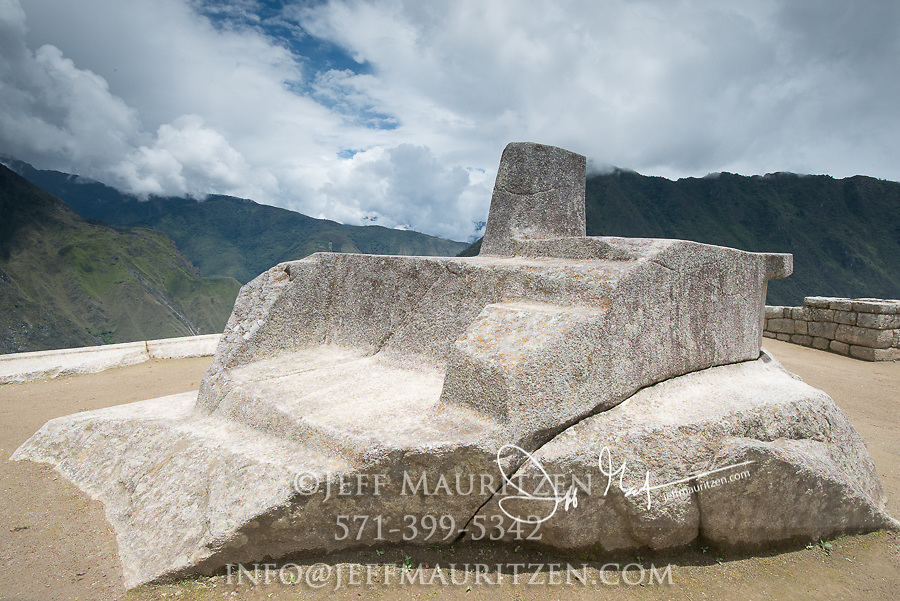 Known as the Hitching post of the sun, the Sundial at the Inca citadel of Machu Picchu.