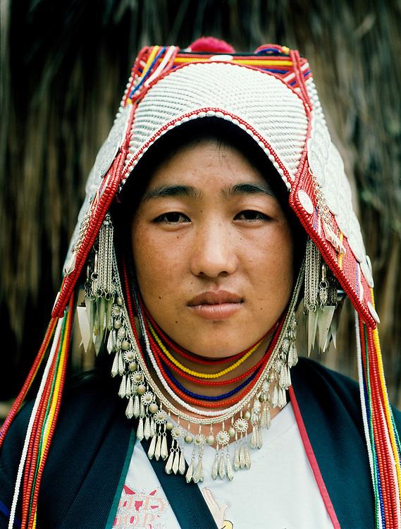 Young Akha woman at Ban Lorcha hill-tribe community