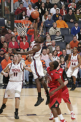 Virginia guard/forward Mamadi Diane (24) dunks against Maryland.  The Virginia Cavaliers defeated the Maryland Terrapins 91-76 at the University of Virginia's John Paul Jones Arena  in Charlottesville, VA on March 9, 2008.