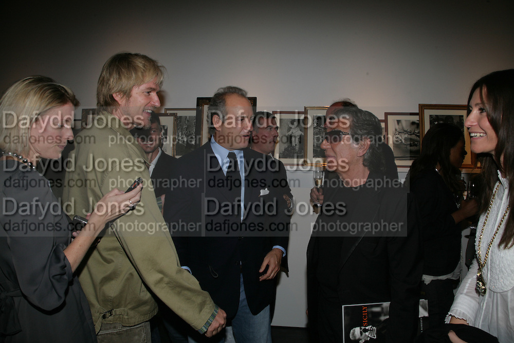 Matthew Modine, Charles Finch and Roberto Cavalli Michael Roberts - book launch party hosted by Vanity Fair to celebrate  publication, Shot In Sicily. Hamiltons Gallery, 13 Carlos Place, London,17 September 2007. -DO NOT ARCHIVE-© Copyright Photograph by Dafydd Jones. 248 Clapham Rd. London SW9 0PZ. Tel 0207 820 0771. www.dafjones.com.