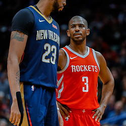 Jan 26, 2018; New Orleans, LA, USA; New Orleans Pelicans forward Anthony Davis (23) and Houston Rockets guard Chris Paul (3) during the fourth quarter at the Smoothie King Center. Pelicans defeated the Rockets 115-113. Mandatory Credit: Derick E. Hingle-USA TODAY Sports
