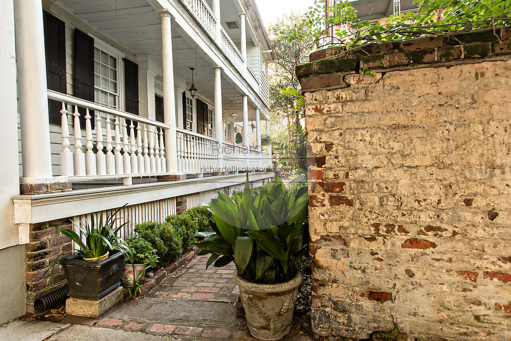Historic home walkway and Piazza side porch on Church Street in Charleston, SC.