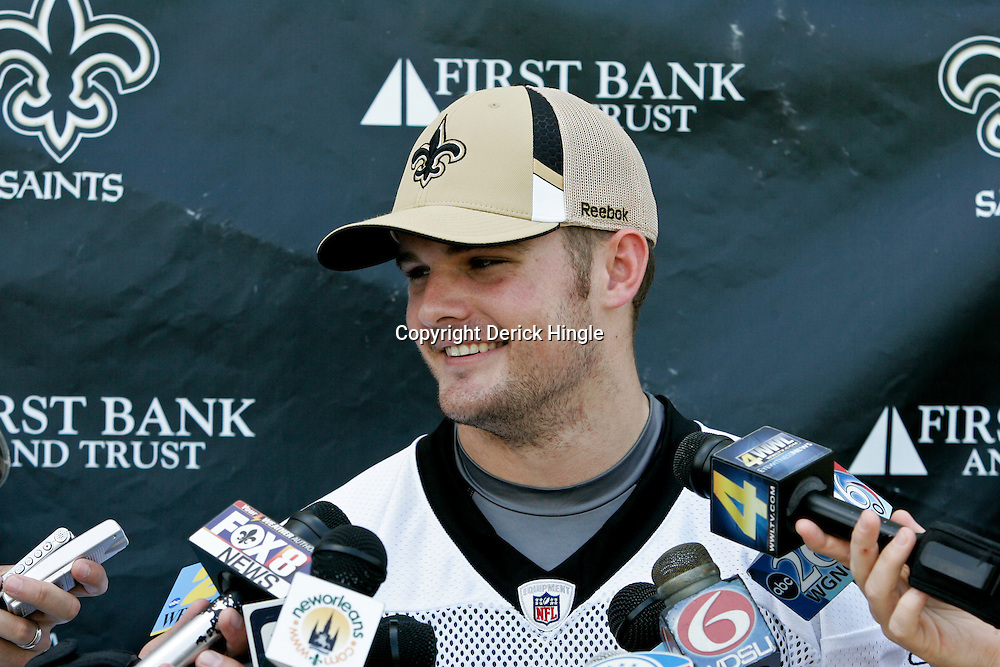 08 May 2009: Saints fifth round draft selection, punter Thomas Morstead (6) talks with the media following the morning practice on day one of the New Orleans Saints rookie minicamp held at the team's practice facility in Metairie, Louisiana.