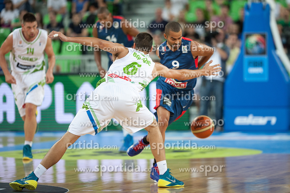 Jure Balazic of Slovenia vs Tony Parker of Slovenia during friendly match between National teams of Slovenia and France for Eurobasket 2013 on August 31, 2013 in Arena Stozice, Ljubljana, Slovenia. (Photo by Matic Klansek Velej / Sportida.com)