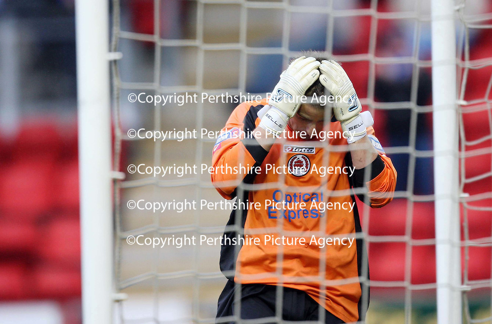 St Johnstone v Clyde....27.10.07<br /> David Hutton holds his head after his howler for the equaliser<br /> Picture by Graeme Hart.<br /> Copyright Perthshire Picture Agency<br /> Tel: 01738 623350  Mobile: 07990 594431