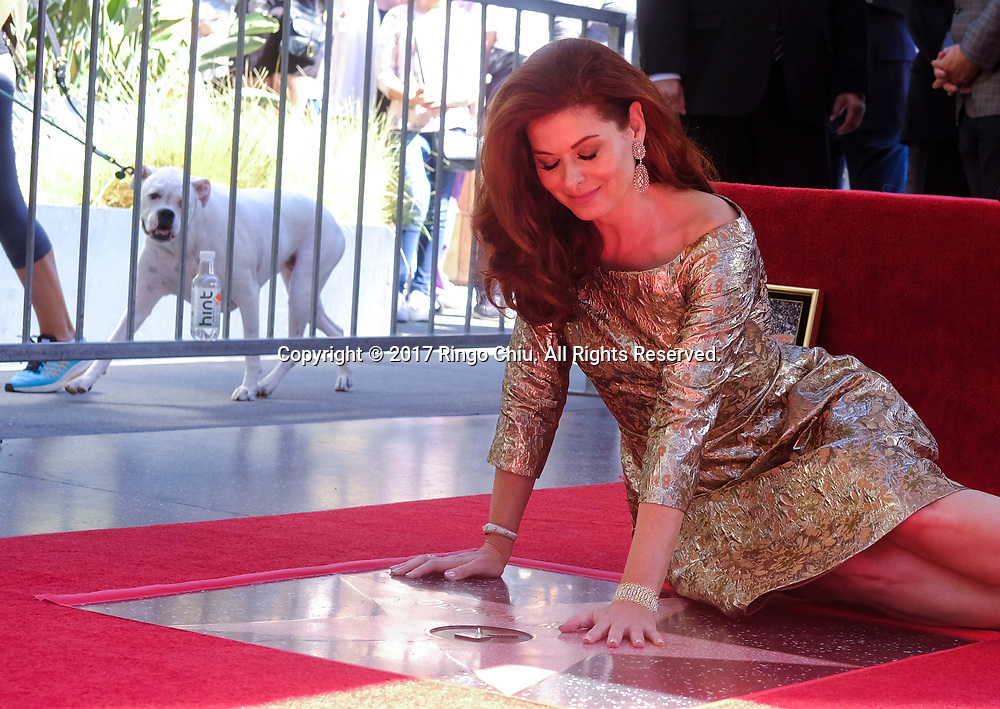 Actress Debra Messing at a ceremony honoring her with a star on the Hollywood Walk of Fame on Friday, Oct. 5, 2017, in Los Angeles.(Photo by Ringo Chiu)<br /> <br /> Usage Notes: This content is intended for editorial use only. For other uses, additional clearances may be required.