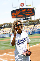 19 July 2009: Surfer Rob Machado on the field  during the MLB Los Angeles Dodgers 4-3 win over the Houston Astros on a warm summer day in LA at Chavez Ravine during a National League Professional Baseball game.