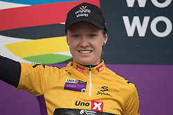 Jolien D'Hoore (BEL) of Wiggle Hi5 Cycling Team celebrates wearing the overall leader's yellow jersey after Stage 1 of the Ladies Tour of Norway - a 101.5 km road race, between Halden and Mysen on August 18, 2017, in Ostfold, Norway. (Photo by Balint Hamvas/Velofocus.com)