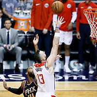 07 December 2017: Washington Wizards center Marcin Gortat (13) goes for the layup past Phoenix Suns center Greg Monroe (14) during the Washington Wizards 109-99 victory over the Phoenix Suns, at the Talking Stick Resort Arena, Phoenix, Arizona, USA.