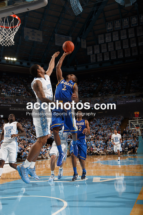 CHAPEL HILL, NC - DECEMBER 22: Jeremie Mitchell #2 of the McNeese State Cowboys shoots the ball during a game against the North Carolina Tar Heels on December 22, 2012 at the Dean E. Smith Center in Chapel Hill, North Carolina. North Carolina won 63-97. (Photo by Peyton Williams/UNC/Getty Images) *** Local Caption *** Jeremie Mitchell