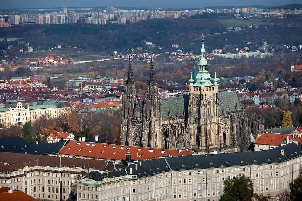 St. Vitus Cathedral seen from Petrin hill in Prague.